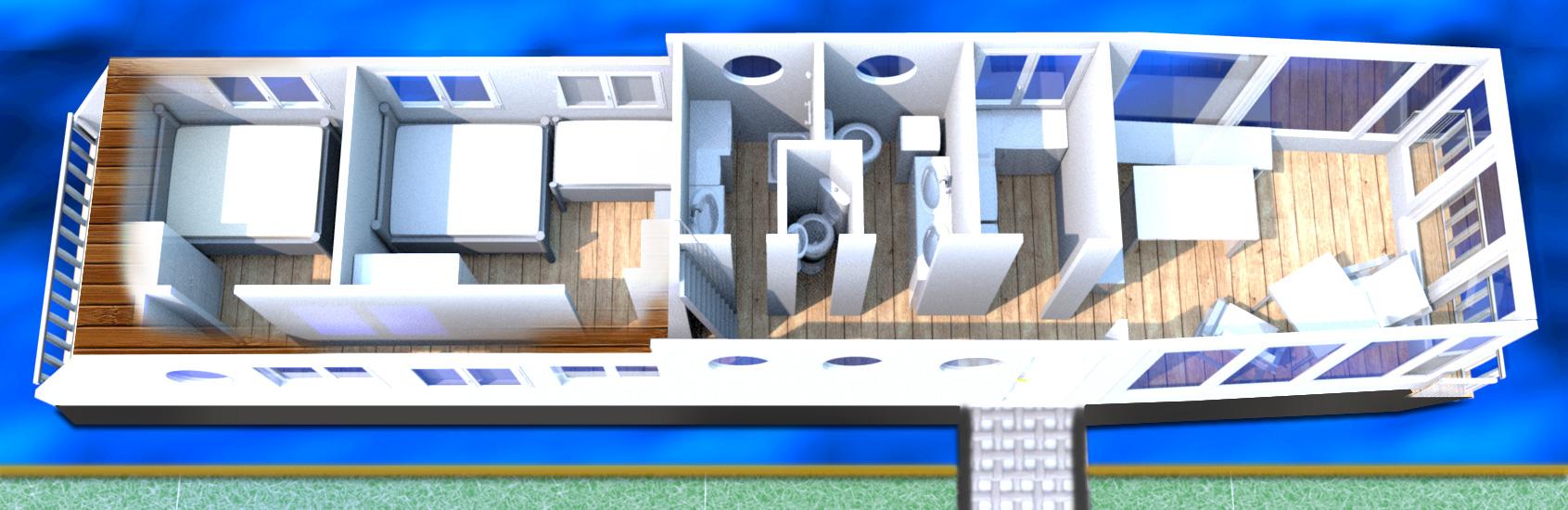 """Deckplan des Wohnschiffes """"Neptun"""": Darßsicht-Deck"""